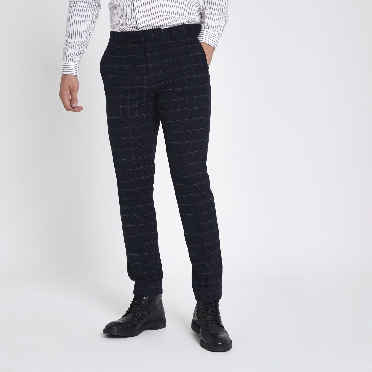 Marineblauwe skinny pantalon met groot ruitmotief