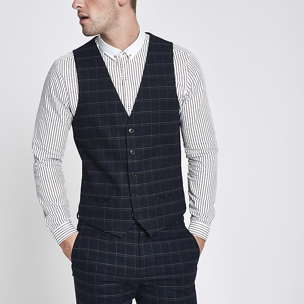 Navy window pane check waistcoat