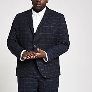 Big and Tall navy check skinny suit jacket