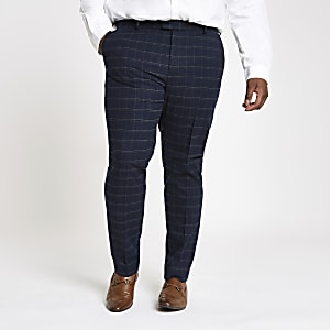 Big and Tall navy grindle check suit trousers