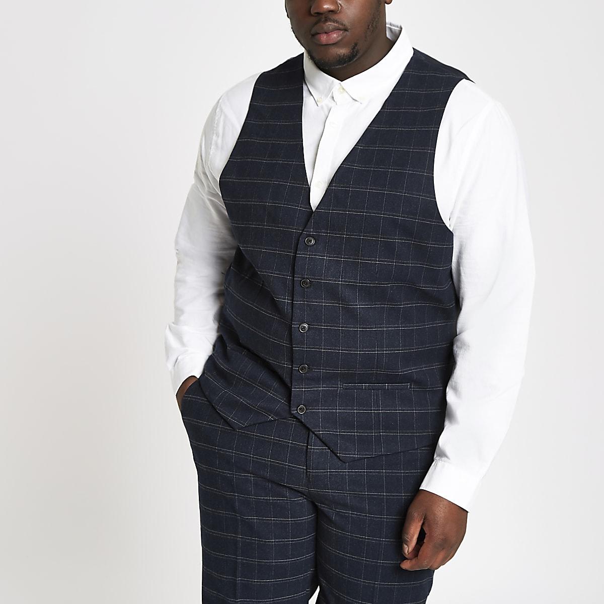 Big and Tall navy check waistcoat
