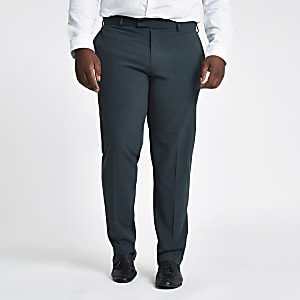 Big and Tall green skinny fit suit trousers
