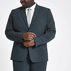 Big and Tall dark green skinny fit jacket
