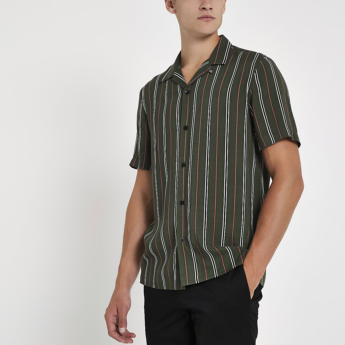 Green stripe print short sleeve revere shirt
