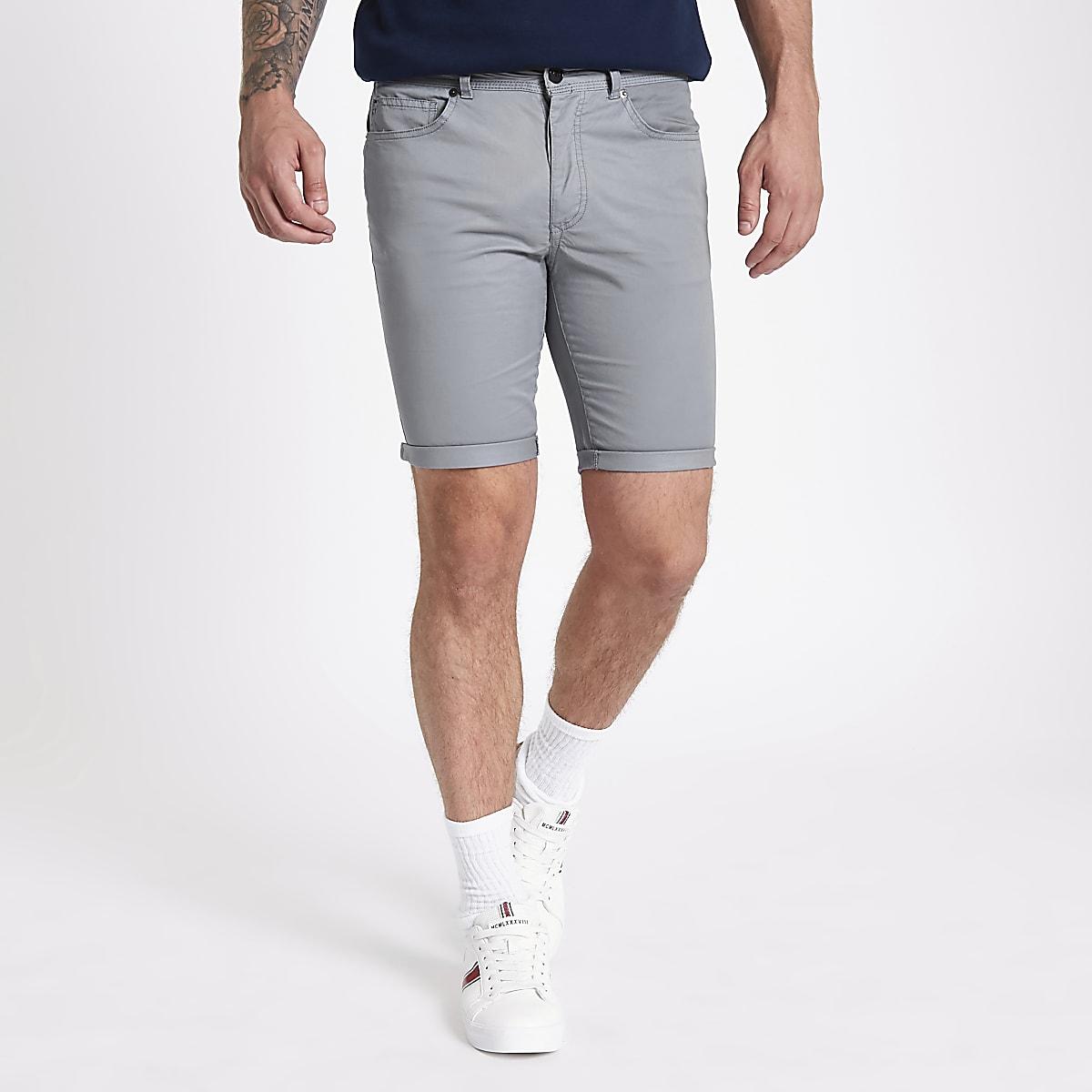 Grey skinny fit shorts