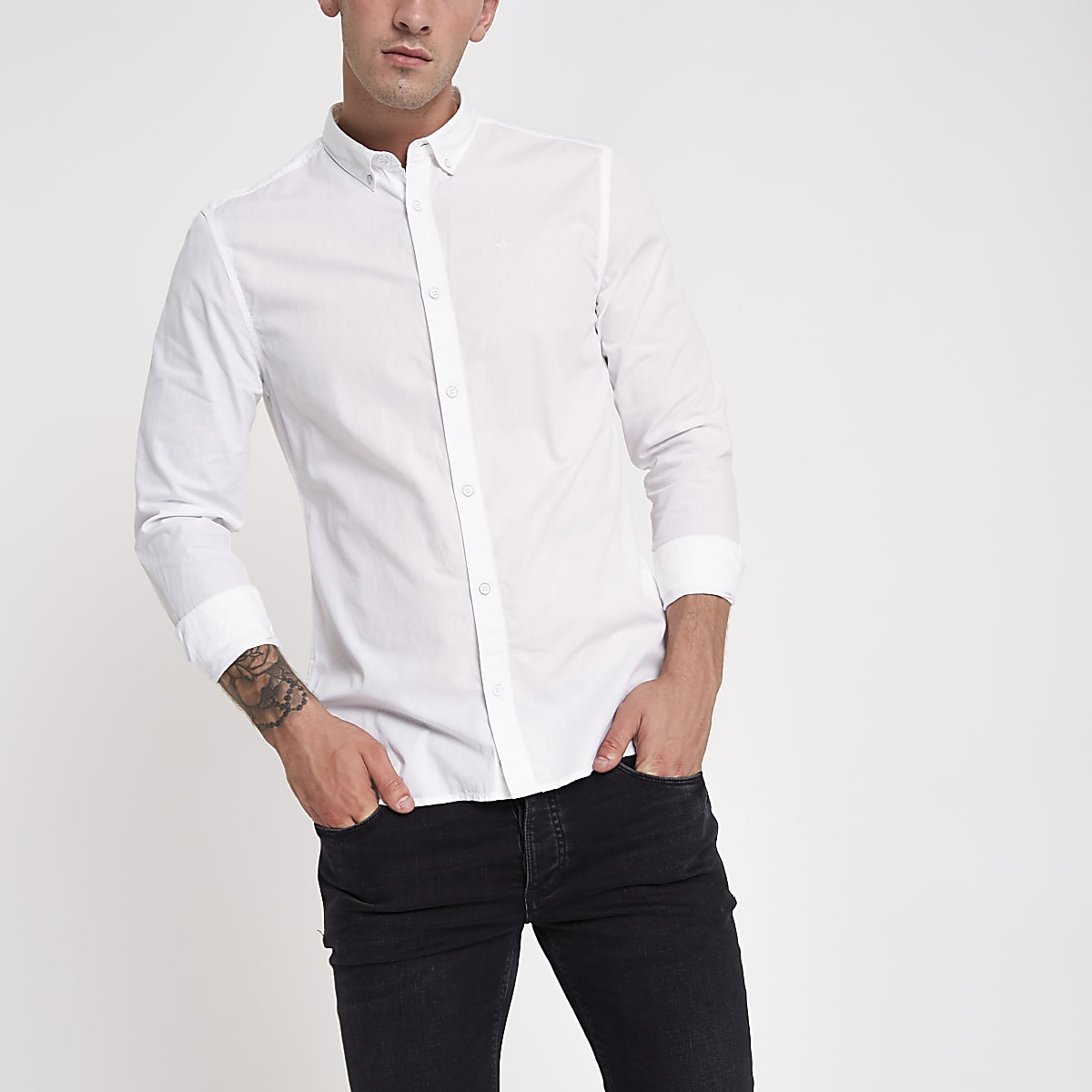 White poplin slim fit rolled sleeve shirt