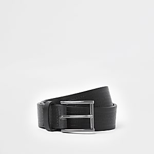 Black stitch leather buckle belt