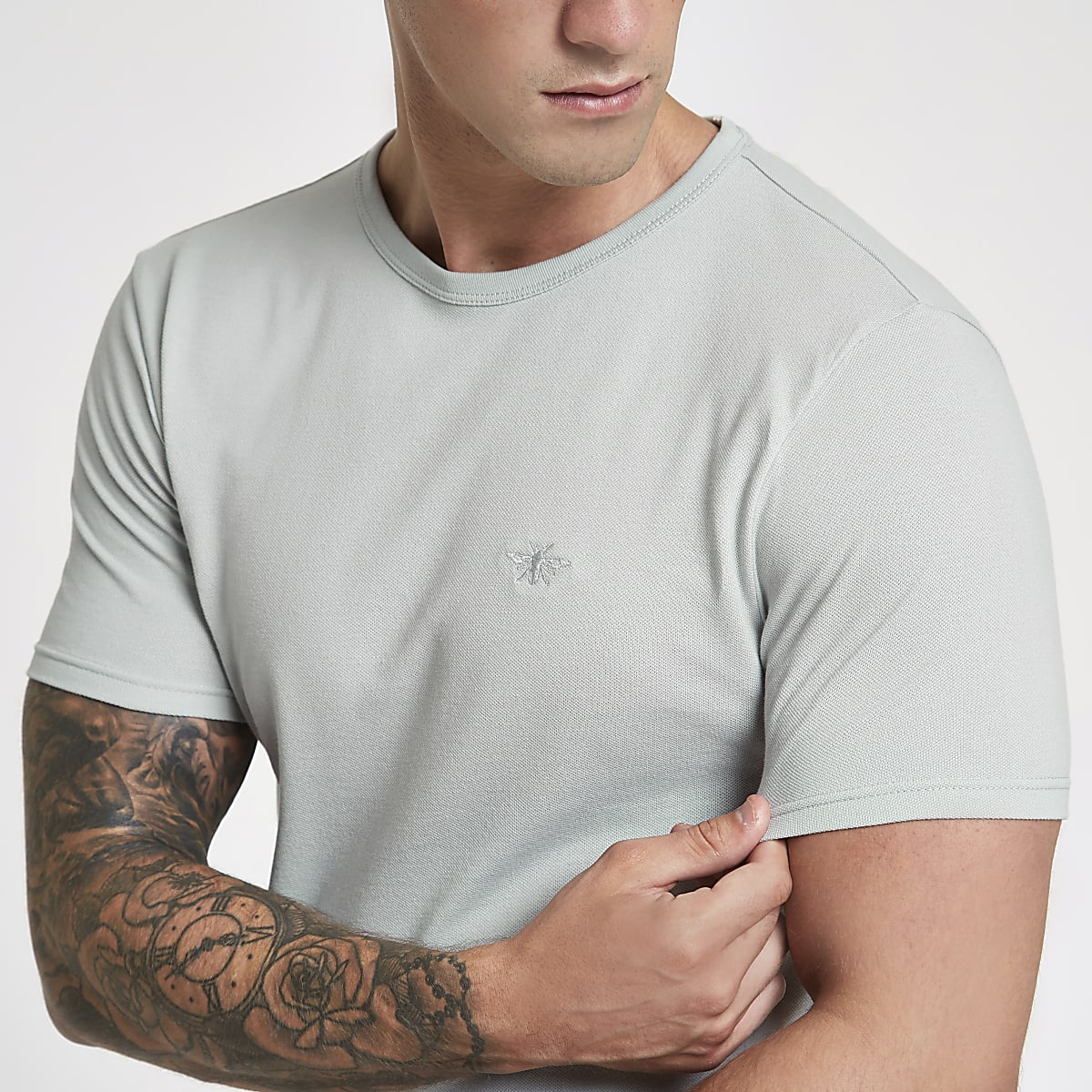Grey muscle fit wasp embroidered T-shirt