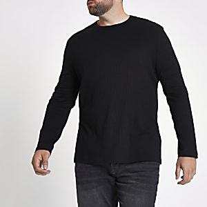 Big & Tall - T-shirt ras-du-cou noir côtelé