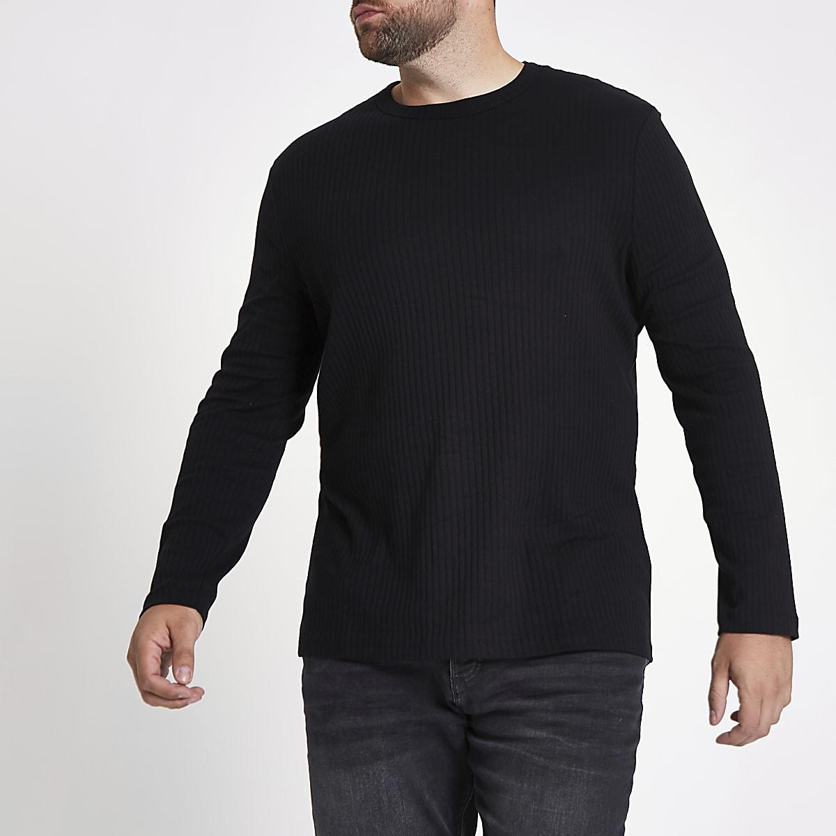 Big & Tall - T-shirt noir côtelé à manches longues