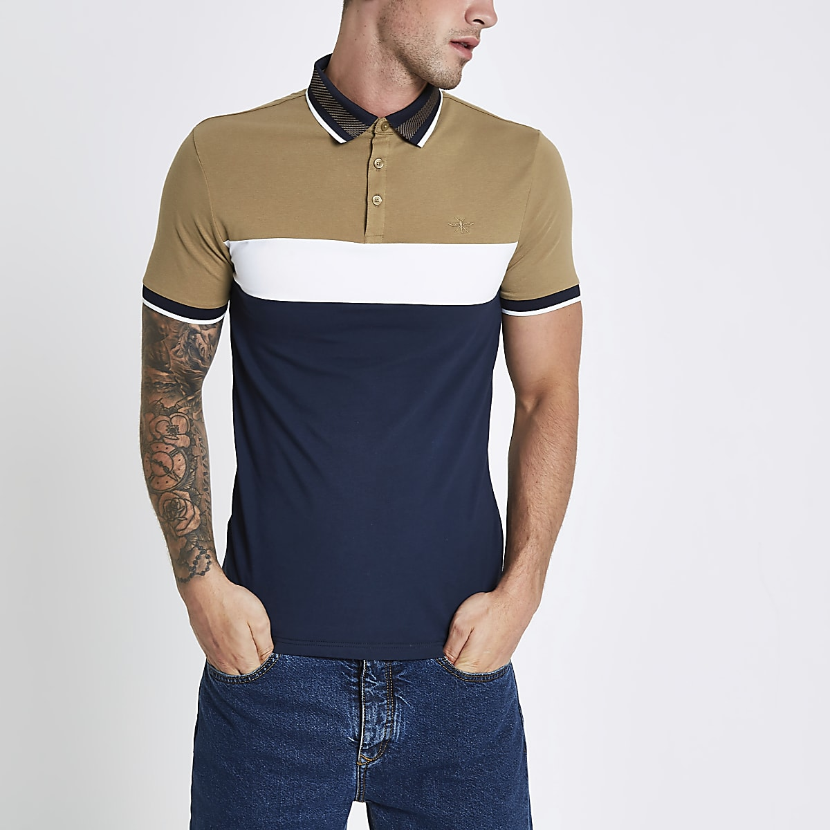 Navy block print muscle fit polo shirt