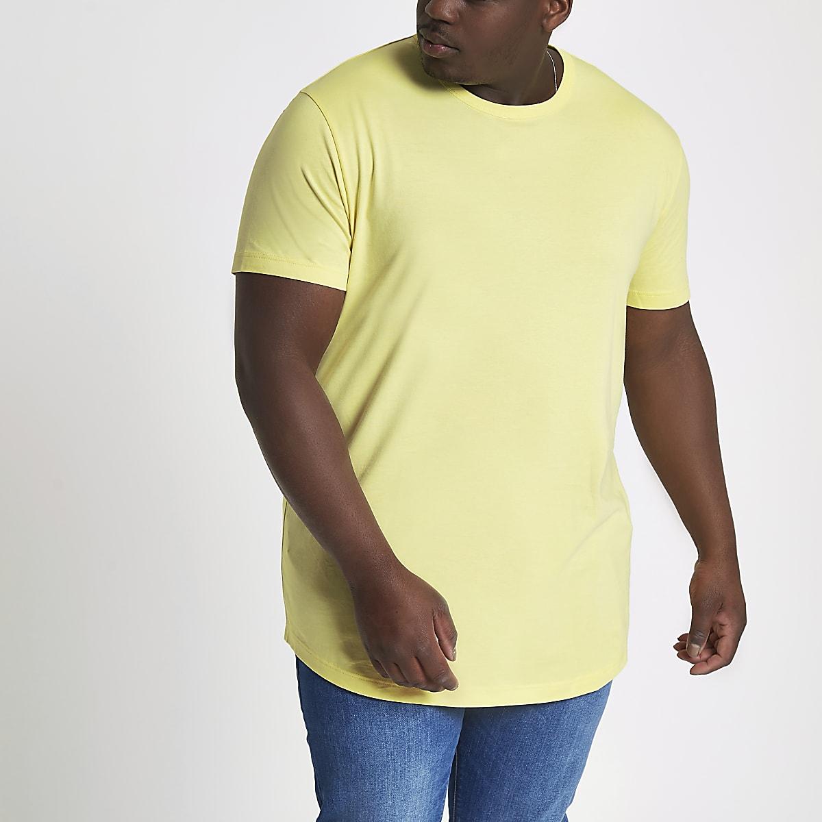 Big and Tall yellow curved hem T-shirt