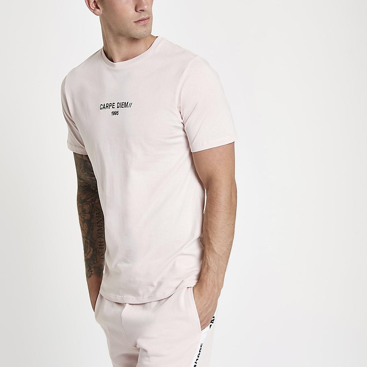 Pink 'Carpe Diem' slim fit T-shirt