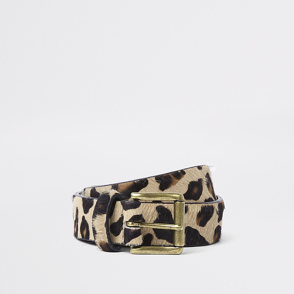 Brown leopard print belt