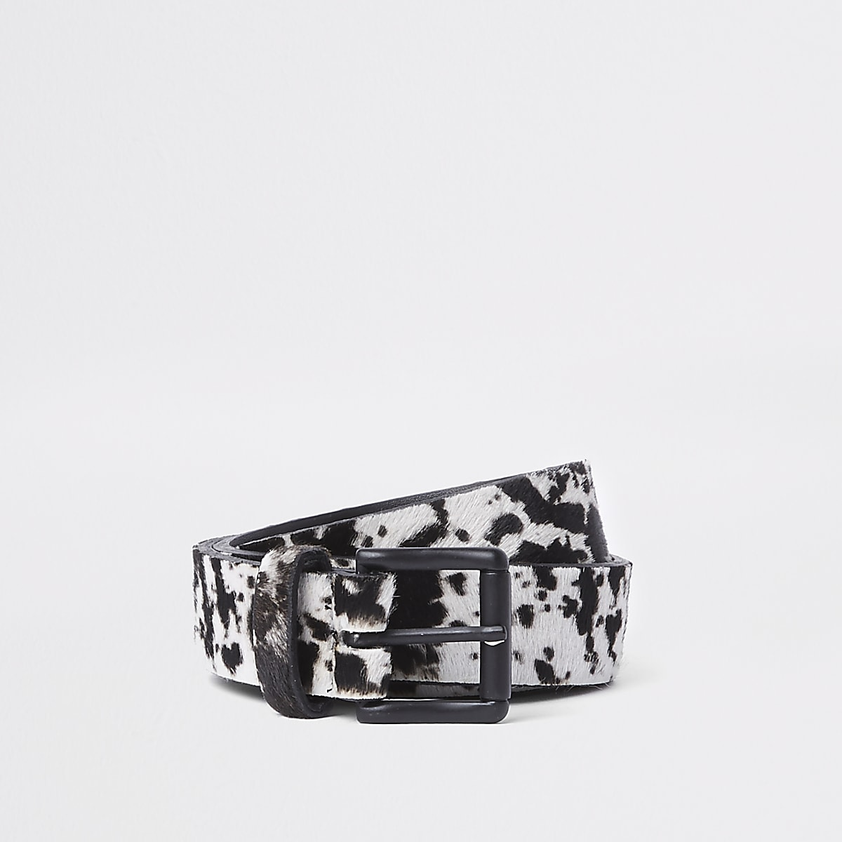 Black cow print belt