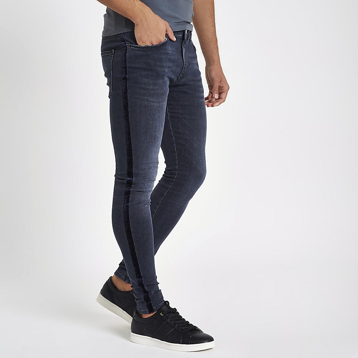 Jean skinny en velours rayé bleu foncé