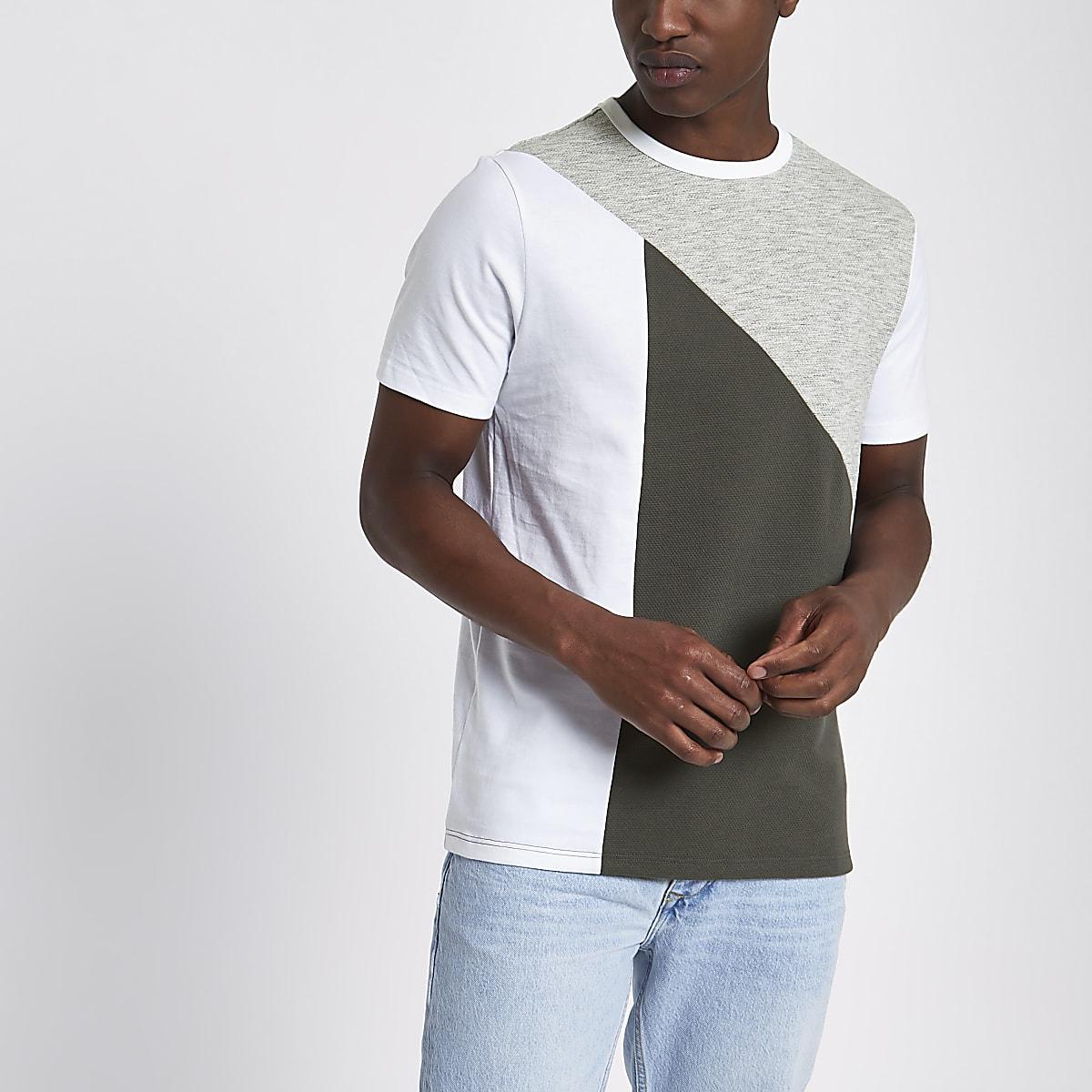 Grey block slim fit T-shirt