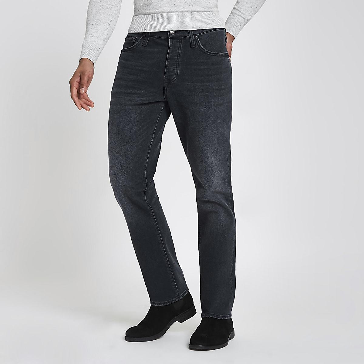 Dark blue standard straight leg jeans