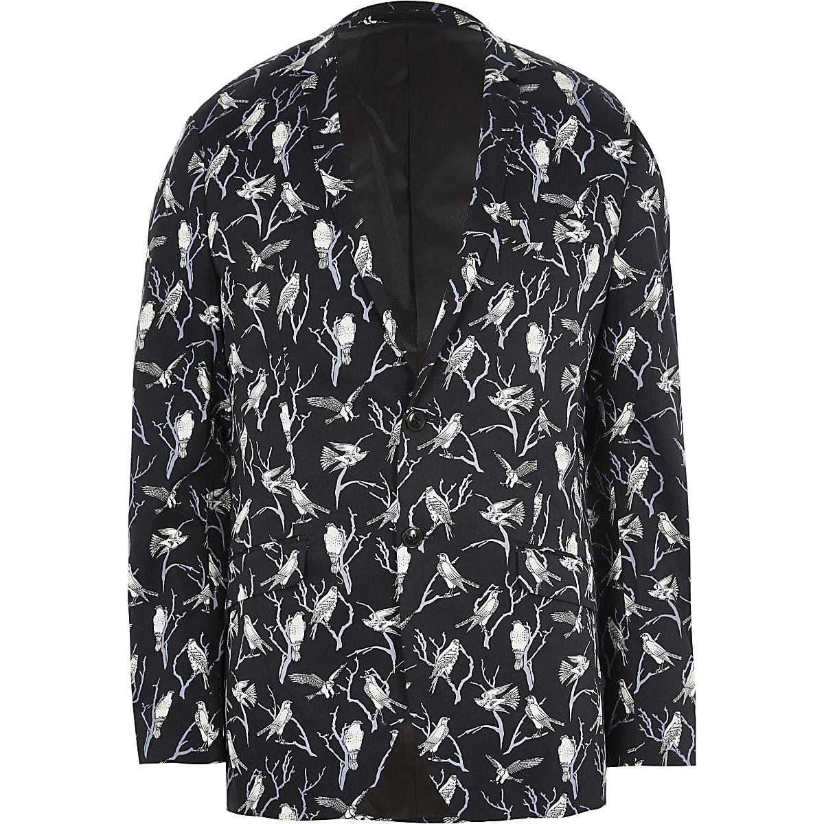 Jack & Jones Premium navy bird print blazer