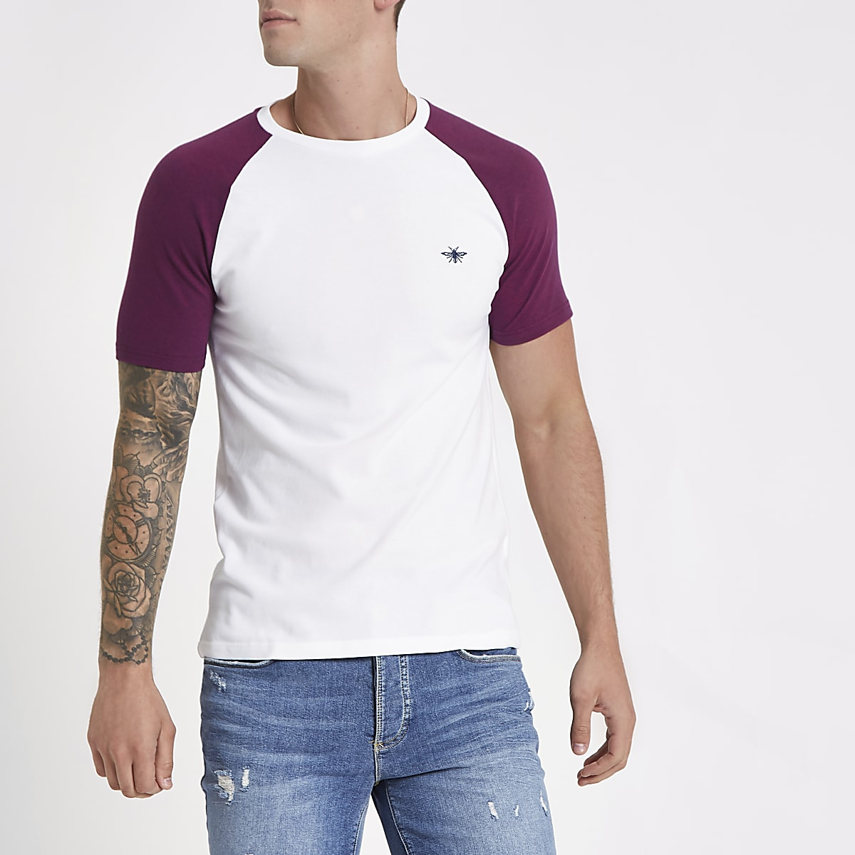 076d9a942 White and red pique muscle fit raglan T-shirt - T-shirts - T-Shirts   Vests  - men