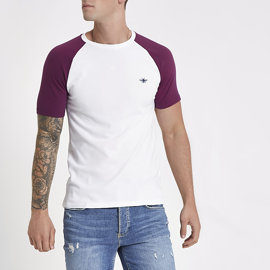 White and red pique muscle fit raglan T-shirt