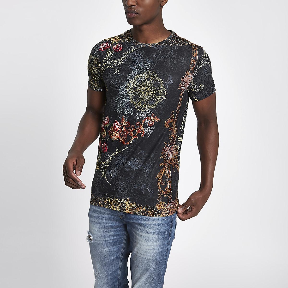 Schwarzes Slim Fit T-Shirt mit Leopardenprint