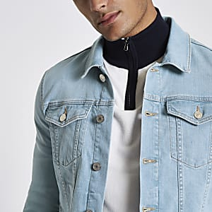 Light blue wash muscle fit denim jacket