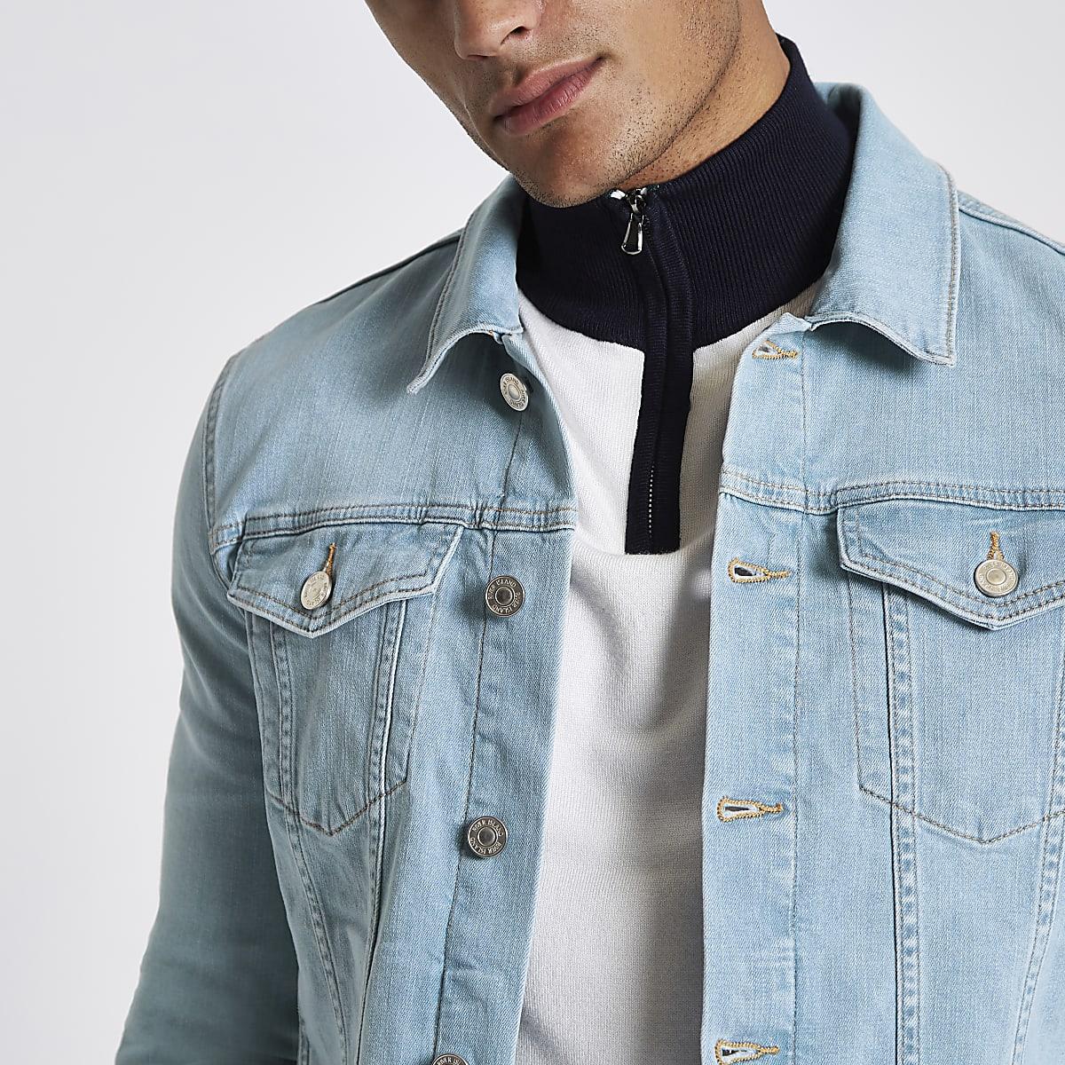 Veste en jean ajustée bleu clair délavée