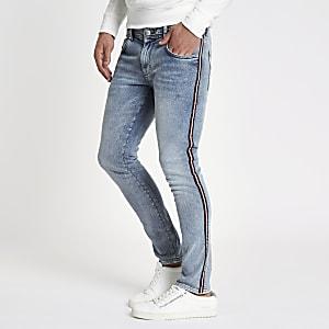 Blauwe stone wash skinny jeans met tape