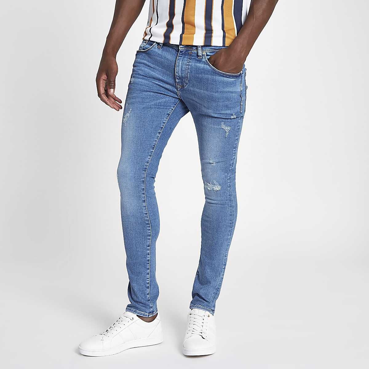 Mid blue Danny super skinny fit jeans