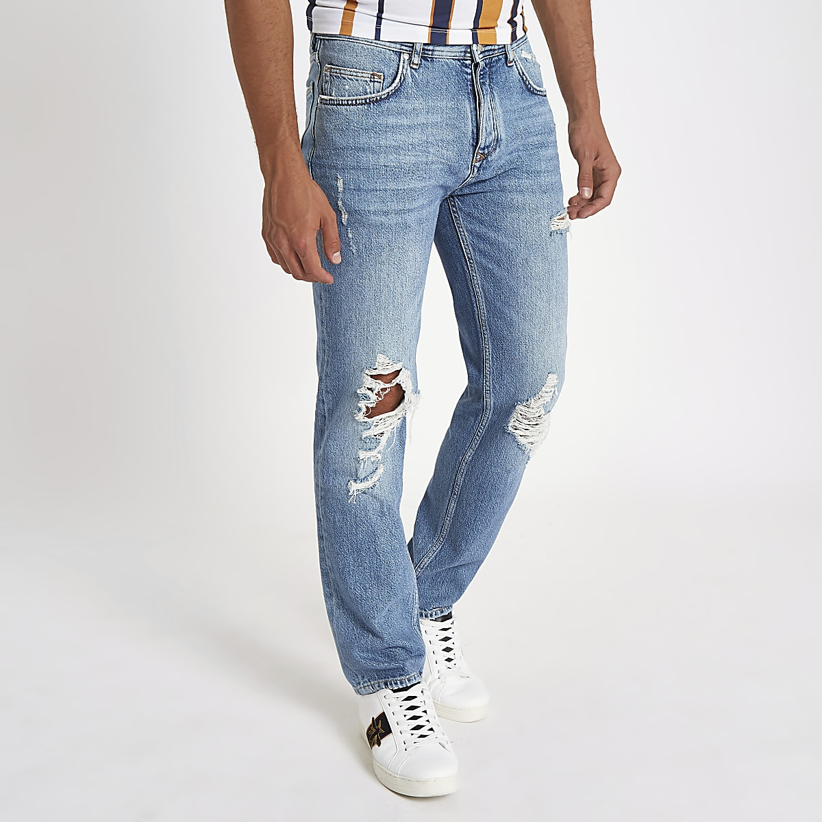 Light blue Dean ripped standard jeans