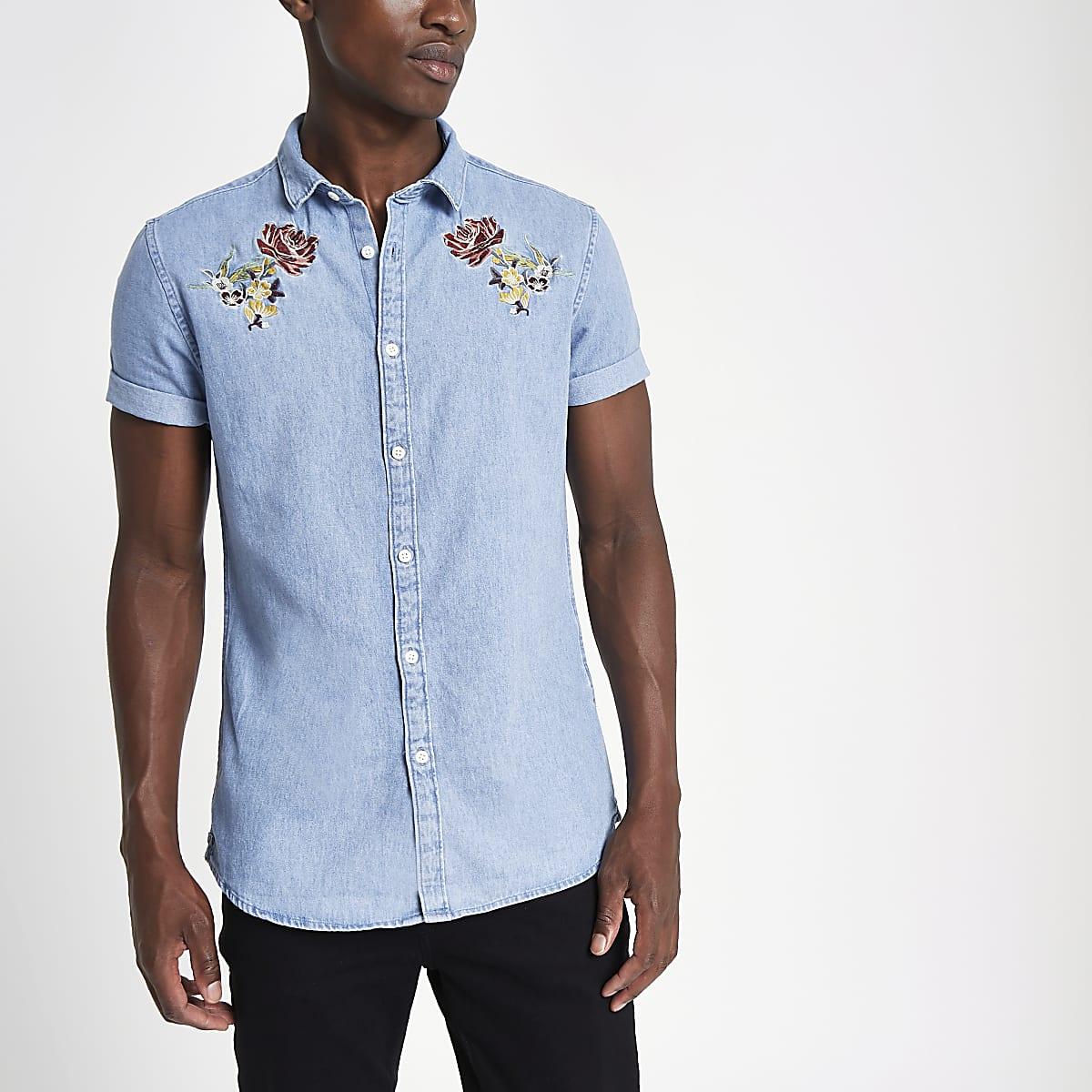 Slim Fit Denim Overhemd.Blauw Slim Fit Geborduurd Denim Overhemd Overhemden Met Korte