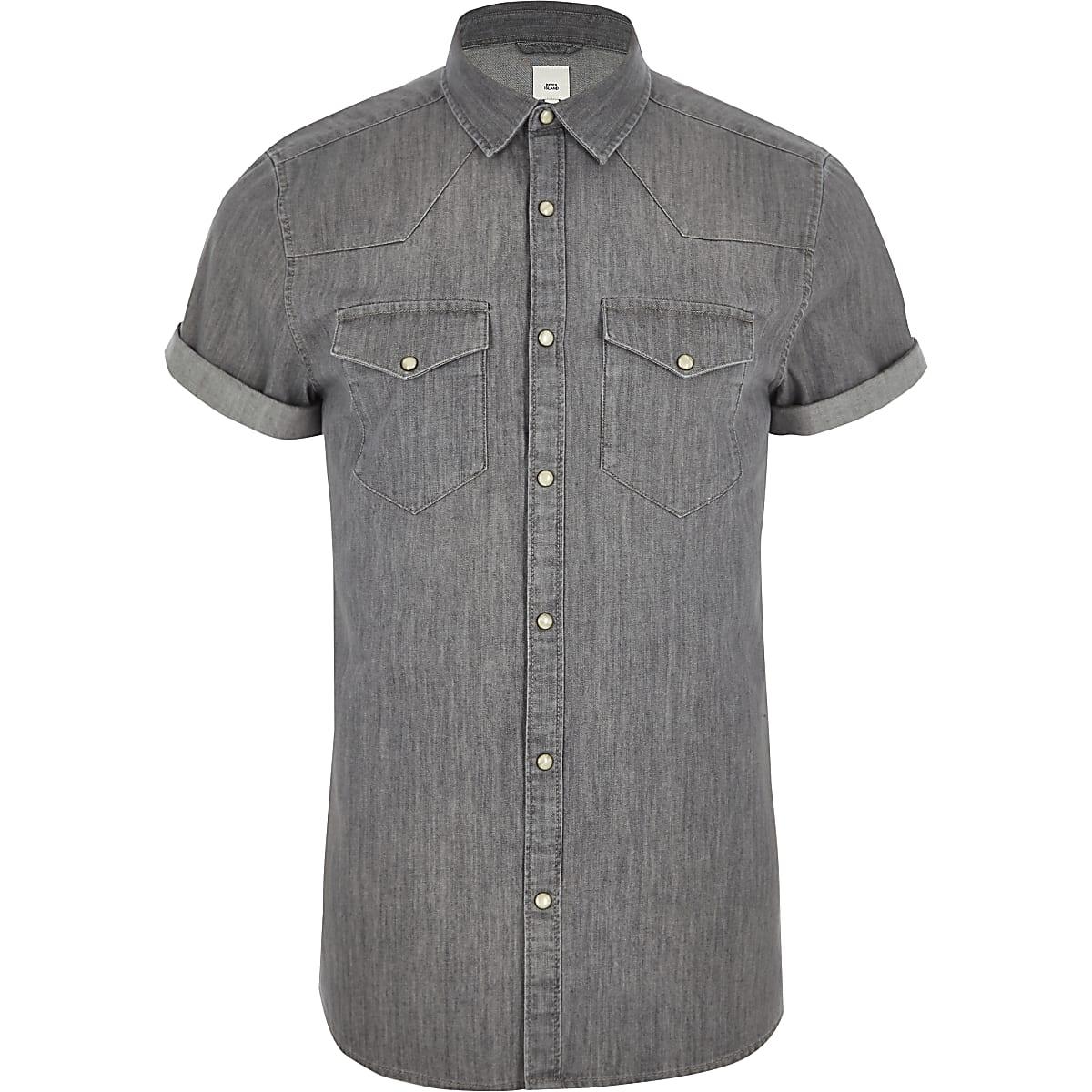 Slim Fit Denim Overhemd.Grijs Slim Fit Denim Overhemd In Westernlook Overhemden Met Korte