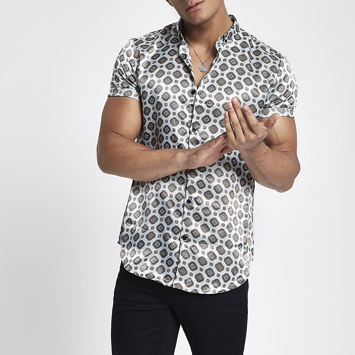 Grey tile print slim fit shirt
