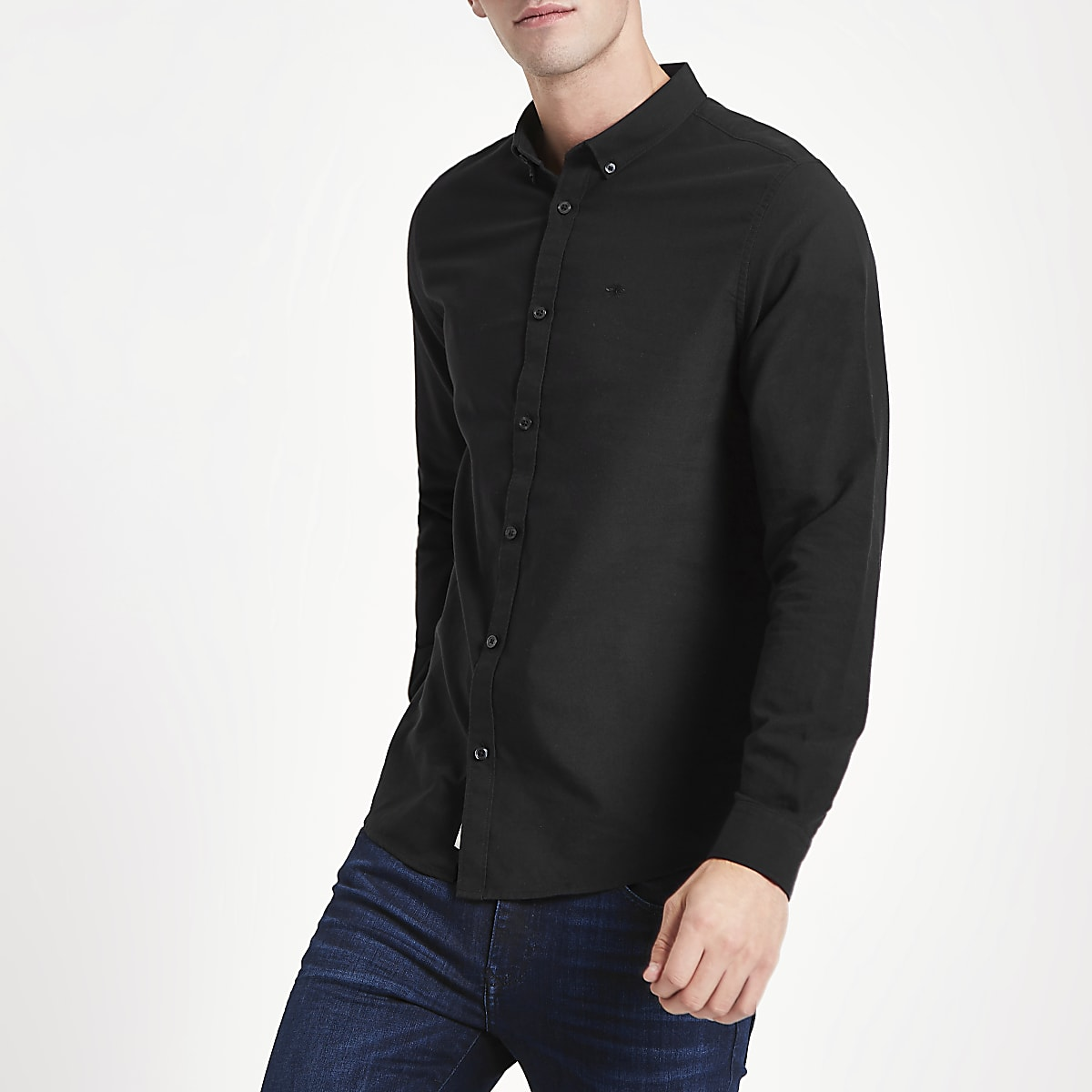 Black wasp embroidered Oxford shirt