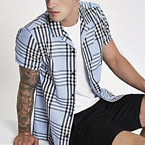 Chemise manches courtes à carreaux bleu clair