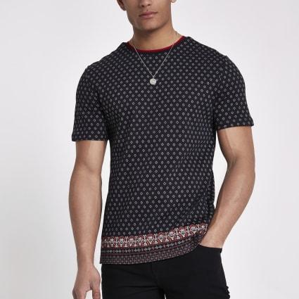 Black tile print slim fit T-shirt