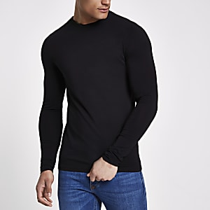 T-shirt noir ajusté à manches longues