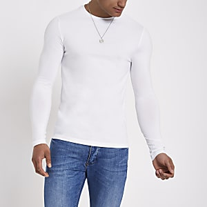 7a1a05bd35  White muscle fit long sleeve T-shirt