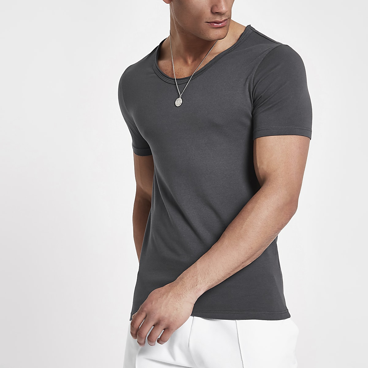 3bb44505 Grey muscle fit scoop neck T-shirt - T-shirts - T-Shirts & Vests - men