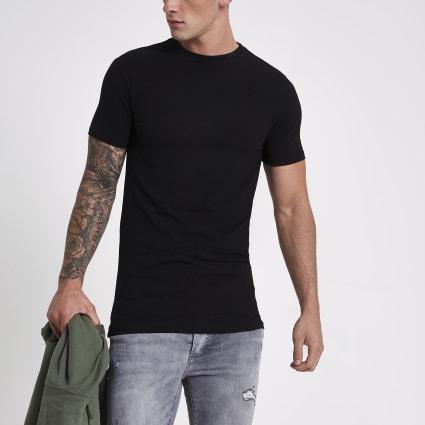 Black muscle fit longline T-shirt