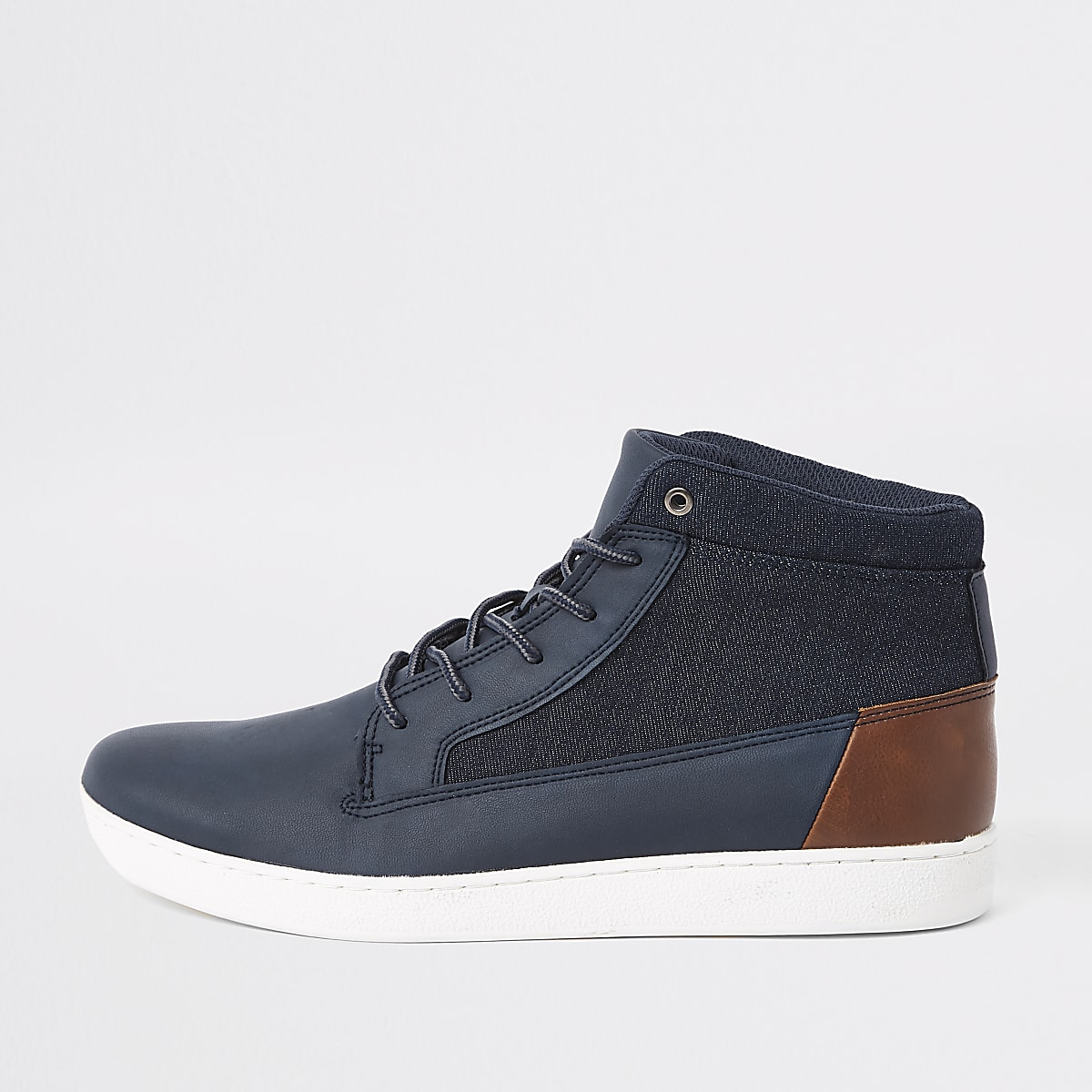 Navy denim mid top sneakers