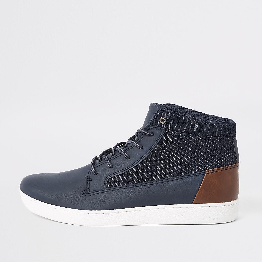 Marineblauwe denim halfhoge sneakers