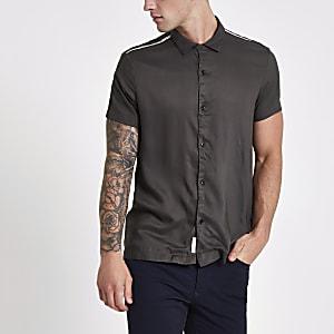Kaki overhemd met korte mouwen
