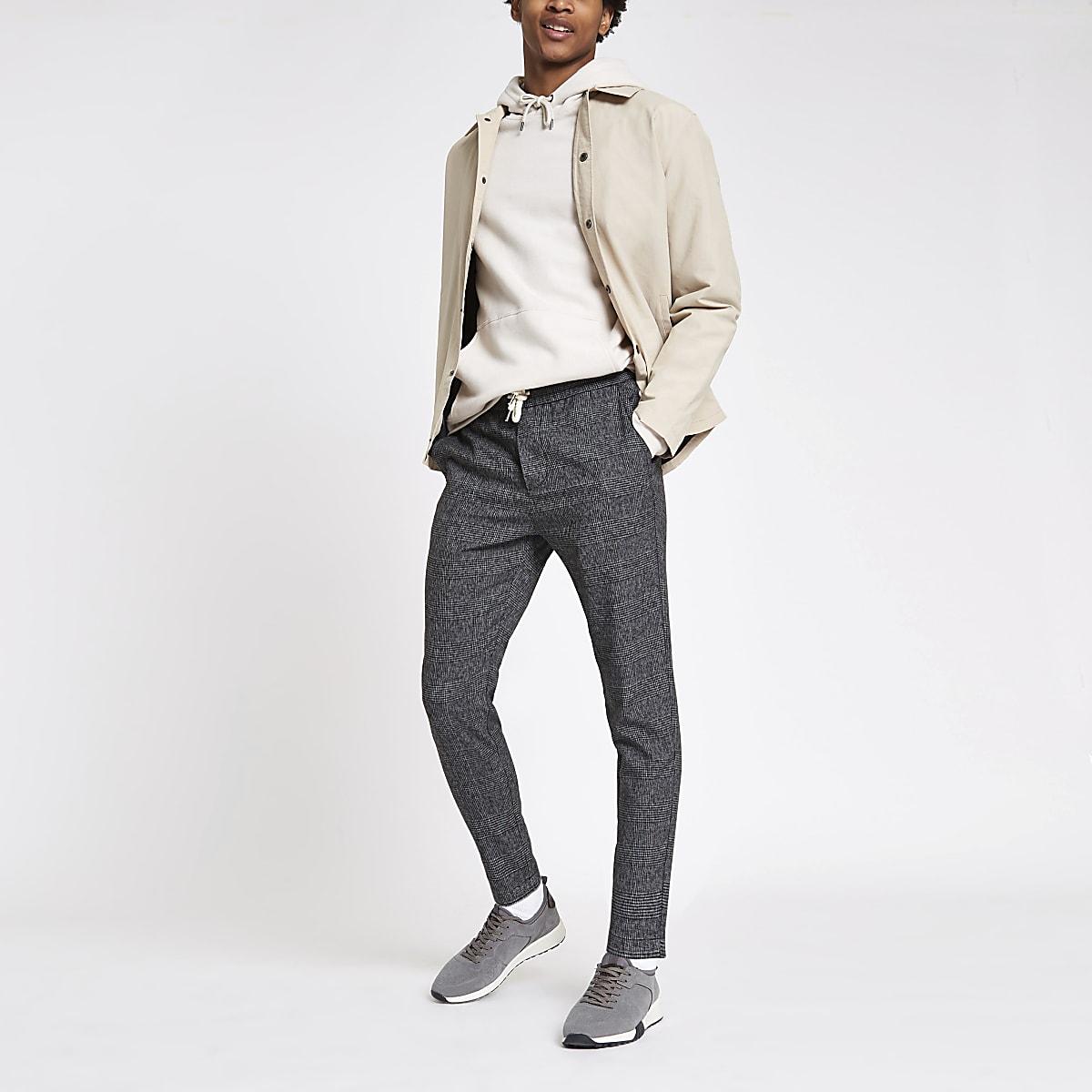 Only & Sons – Pantalon à carreaux gris à cordon