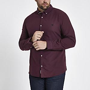 Big and Tall dark red Oxford shirt