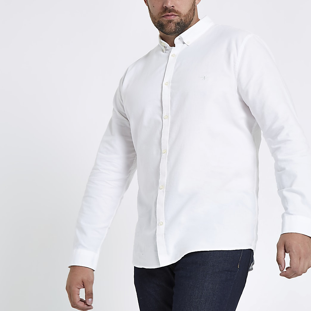Big and Tall - Wit Oxford overhemd met lange mouwen