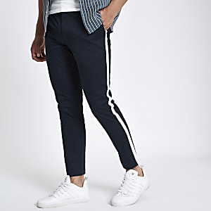 Navy tape side skinny fit chino pants