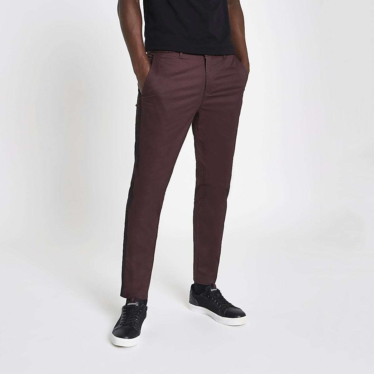 Pantalon chino skinny rouge foncé avec bande latérale