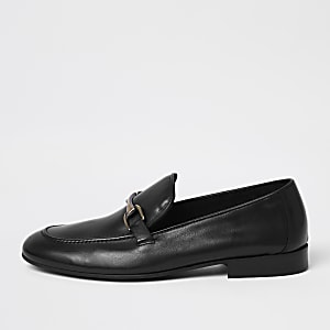 Black leather snaffle loafers